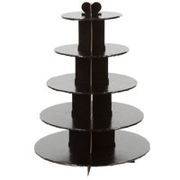 Enjay CS-5T-BLACK 5-Tier Disposable Black Cupcake Treat Stand
