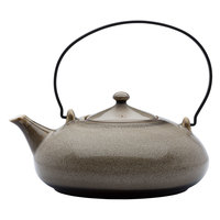 Oneida L6753059861 Rustic 14 oz. Chestnut Porcelain Teapot with Metal Handle - 12/Case