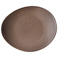 Oneida L6753059358 Rustic 11 1/2 inch Chestnut Porcelain Oval Coupe Plate - 12/Case