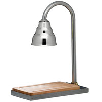 Bon Chef 9698CH Single Lamp 21 inch x 13 inch Carving Station with Chrome Lamp Shade and Butcher Block