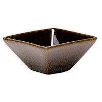 Oneida L6753059940 Rustic 2 oz. Chestnut Porcelain Square / Triangular Dish - 72/Case