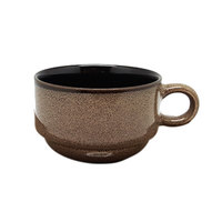 Oneida L6753059522 Rustic 6 oz. Chestnut Porcelain Stacking Coffee Cup - 24/Case