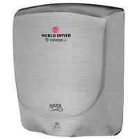 World Dryer Q-973A VERDEdri Brushed Stainless Steel Hand Dryer - 110-120V/208V/220-240V, 950W