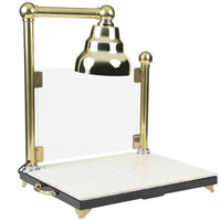 Bon Chef 9697 Single Lamp 24 inch x 18 inch Carving Station with Sneeze Guard and Brass Lamp Shade