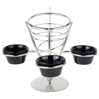American Metalcraft SS93 Stainless Steel Wire Fry Basket with 3 Ramekin Holders - 5 inch x 9 inch
