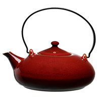 Oneida L6753074861 Rustic 14 oz. Crimson Porcelain Teapot with Metal Handle - 12/Case