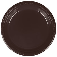 Creative Converting 28303821 9 inch Chocolate Brown Plastic Plate - 20/Pack