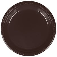 Creative Converting 28303821 9 inch Chocolate Brown Plastic Dinner Plate - 20 / Pack