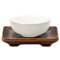 Oneida L6753066503 Rustic 3 inch Sama Porcelain Chinese Rectangular Saucer - 72/Case