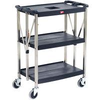 Metro FC162734BL MyFold Black 3 Shelf Cart