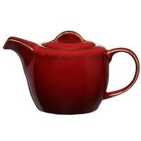 Oneida L6753074860 Rustic 14 oz. Crimson Porcelain Teapot - 12/Case
