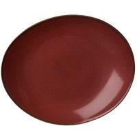 Oneida L6753074358 Rustic 11 1/2 inch Crimson Porcelain Oval Coupe Plate - 12/Case