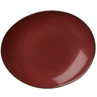 Oneida L6753074342 Rustic 9 inch Crimson Porcelain Oval Coupe Plate - 24/Case