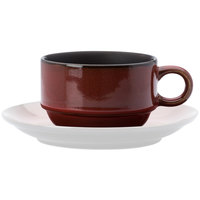 Oneida L6753074522 Rustic 6 oz. Crimson Porcelain Stacking Coffee Cup - 24/Case