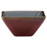 Oneida L6753074940 Rustic 2 oz. Crimson Porcelain Square / Triangular Dish - 72/Case