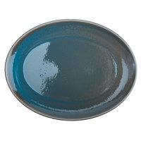 Oneida F1493020370 Terra Verde Dusk 13 inch Porcelain Coupe Oval Platter - 12/Case