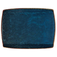 Oneida F1468994359S Studio Pottery Blue Moss 11 inch x 8 5/8 inch Porcelain Rectangular Plate - 12/Case