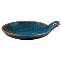 Oneida F1468994109 Studio Pottery Blue Moss 4 inch Porcelain Round Cocktail Plate with Handle - 48/Case