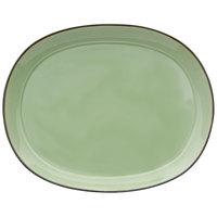 Oneida F1463067355 Studio Pottery Celadon 10 1/4 inch Porcelain Oval Platter - 12/Case