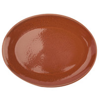 Oneida F1493025355 Terra Verde Cotta 11 inch Porcelain Coupe Oval Platter - 12/Case