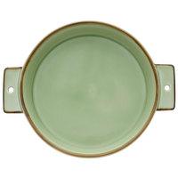 Oneida F1463067300 Studio Pottery Celadon 23 oz. Porcelain Double-Handled Tapas Dish - 24/Case