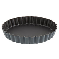 Matfer Bourgeat 331815 Exopan Steel 7 7/8 inch Fluted Non-Stick Tart / Quiche Mold with Removable Bottom