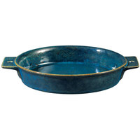 Oneida F1468994300 Studio Pottery Blue Moss 23 oz. Porcelain Double-Handled Tapas Dish - 24/Case