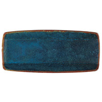 Oneida F1468994760 Studio Pottery Blue Moss 10 1/2 inch x 4 5/8 inch Porcelain Narrow Sushi Plate - 24/Case
