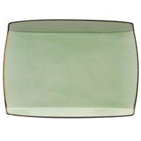 Oneida F1463067359S Studio Pottery Celadon 11 inch x 8 5/8 inch Porcelain Rectangular Plate - 12/Case