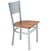 BFM Seating 2140CASH-SM Axel Silver Mist Steel Side Chair with Autumn Ash Wood Seat