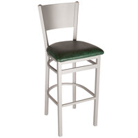 BFM Seating 2140BGNV-SM Axel Silver Mist Steel Bar Height Chair with Green Padded Vinyl Seat