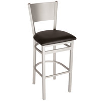 BFM Seating 2140BBLV-SM Axel Silver Mist Steel Bar Height Chair with Black Padded Vinyl Seat