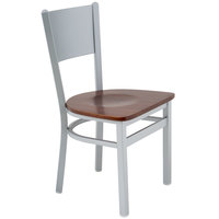 BFM Seating 2140CWAW-SM Axel Silver Mist Steel Side Chair with Walnut Wood Seat