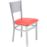 BFM Seating 2140CRDV-SM Axel Silver Mist Steel Side Chair with Red Padded Vinyl Seat