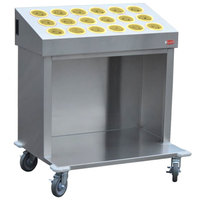 Steril-Sil CRT36-18-YELLOW 36 inch Open Base Stainless Steel Silverware / Tray Cart with 18 Yellow Silverware Cylinders