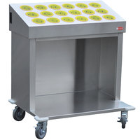 Steril-Sil CRT36-18RP-YELLOW 36 inch Open Base Stainless Steel Silverware / Tray Cart with 18 Yellow Silverware Cylinders