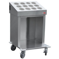Steril-Sil CRT24-12SS 24 inch Open Base Stainless Steel Silverware / Tray Cart with 12 Stainless Steel Silverware Cylinders