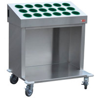 Steril-Sil CRT36-18-HUNTER 36 inch Open Base Stainless Steel Silverware / Tray Cart with 18 Hunter Green Silverware Cylinders