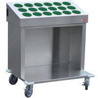 Steril-Sil CRT36-18RP-HUNTER 36 inch Open Base Stainless Steel Silverware / Tray Cart with 18 Hunter Green Silverware Cylinders