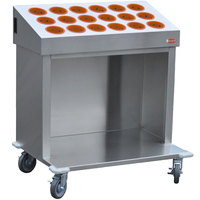 Steril-Sil CRT36-18RP-ORANGE 36 inch Open Base Stainless Steel Silverware / Tray Cart with 18 Orange Silverware Cylinders