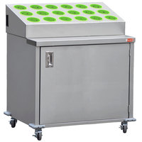 Steril-Sil ENC36-18RP-LIME Stainless Steel Silverware Cart with 18 Lime Silverware Cylinders