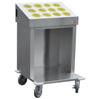 Steril-Sil CRT24-12RP-YELLOW 24 inch Open Base Stainless Steel Silverware / Tray Cart with 12 Yellow Silverware Cylinders
