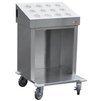 Steril-Sil CRT24-12RP-WHITE 24 inch Open Base Stainless Steel Silverware / Tray Cart with 12 White Silverware Cylinders