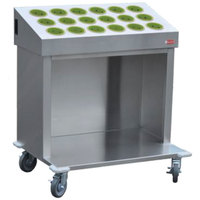 Steril-Sil CRT36-18-LIME 36 inch Open Base Stainless Steel Silverware / Tray Cart with 18 Lime Silverware Cylinders