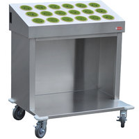 Steril-Sil CRT36-18RP-LIME 36 inch Open Base Stainless Steel Silverware / Tray Cart with 18 Lime Silverware Cylinders