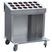 Steril-Sil CRT36-18-BROWN 36 inch Open Base Stainless Steel Silverware / Tray Cart with 18 Brown Silverware Cylinders