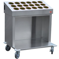 Steril-Sil CRT36-18RP-BROWN 36 inch Open Base Stainless Steel Silverware / Tray Cart with 18 Brown Silverware Cylinders