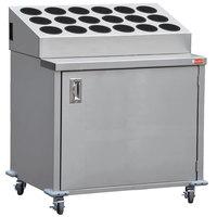 Steril-Sil ENC36-18RP-BLACK Stainless Steel Silverware Cart with 18 Black Silverware Cylinders