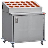 Steril-Sil EN36-18RP-ORANGE Stainless Steel Silverware Cart with 18 Orange Silverware Cylinders