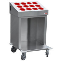 Steril-Sil CRT24-12RP-RED 24 inch Open Base Stainless Steel Silverware / Tray Cart with 12 Red Silverware Cylinders